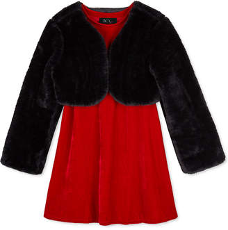 BCX Big Girls 2-Pc. Faux-Fur Shrug & Velvet Shift Dress