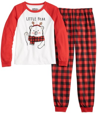 Cuddl Duds Girls 4-16 Jammies For Your Families Cool Bear Top & Bottoms Pajama Set