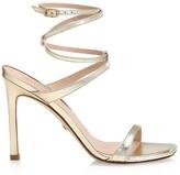 Thumbnail for your product : Stuart Weitzman Ellsie Ankle-Wrap Metallic Leather Sandals