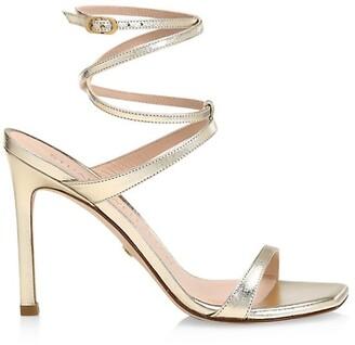 Stuart Weitzman Ellsie Metallic Leather Wraparound High-Heel Sandals