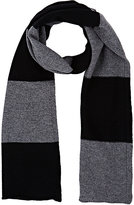 Barneys New York MEN'S STRIPED WOOL-CASHMERE SCARF-BLACK