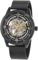 Akribos XXIV Men's Bravura Saturnos Quartz Watch with Black Dial and Black Stainless Steel Mesh Bracelet AKR446BK
