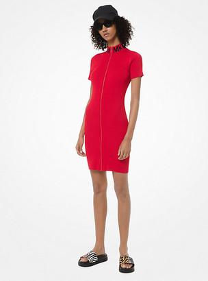 Michael Kors Ribbed Stretch-Viscose Zip-Front Dress