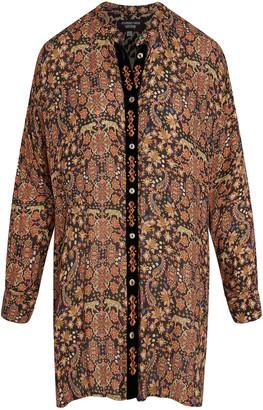 Johnny Was Velvet Placket Mandarin Shirt