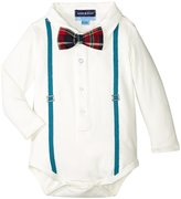 Andy & Evan Polo Shirtzie With Plaid Bowtie (Baby) - White - 12/18 - 12-18 Months