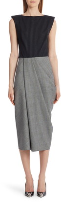 Alexander McQueen Pinstripe & Glen Plaid Wool Midi Dress