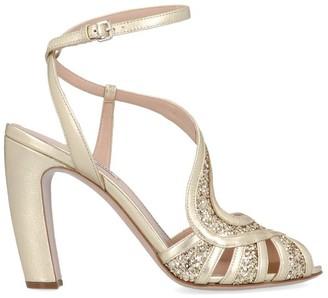 Miu Miu Glittered Ankle Strap Sandals