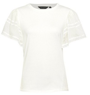 Dorothy Perkins Womens White Extreme Sleeve Top, White