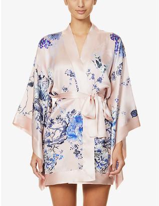 MENG Floral-pattern collarless silk-satin robe