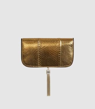 Reiss Vienna - Clutch Bag in Gold