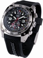 Torgoen Swiss T07301 Men's 43mm Aviation Watch with 12Hr Dual Time Zone, E6B Flight Computer and Black/Grey PU Strap