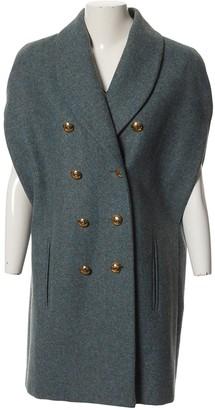 Bouchra Jarrar Blue Wool Coat for Women