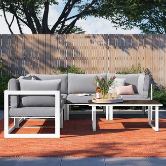 Foundstone Annemarie Outdoor Patio 6 Piece Sectional Seating Group with Cushions Frame Finish: White, Cushion Color (Fabric) : Gray
