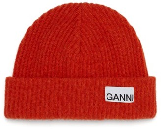Ganni Logo-patch Ribbed Wool-blend Beanie - Orange