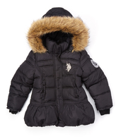 U.S. Polo Assn. Black Faux Fur-Trim Hooded Puffer Coat - Girls