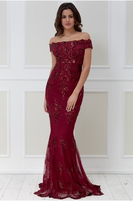 Goddiva Bardot Sequin Embroidered Maxi Dress - Wine