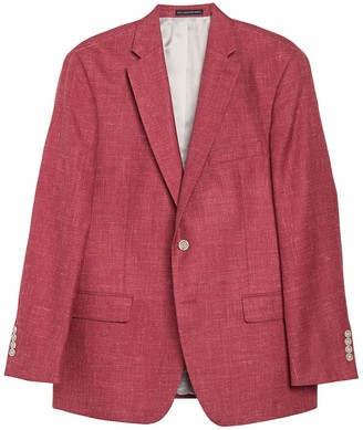 Hart Schaffner Marx Red Solid Two Button Notch Lapel New York Fit Sport Coat