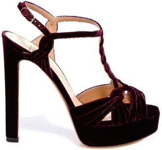 Francesco Russo Braided Velvet Ankle Strap Sandals