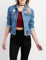 Charlotte Russe Refuge Patched Destroyed Denim Jacket