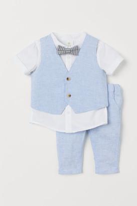 H&M 3-piece Set with Bow Tie - Blue