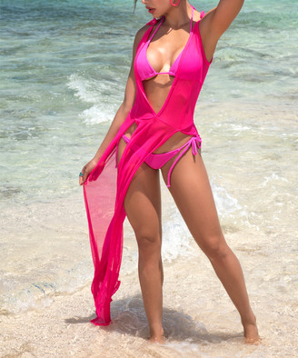 Mapale Women's Swimsuit Coverups Neon - Neon Pink Sheer Cover-Up - Women
