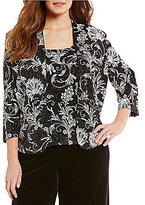Alex Evenings Plus Glitter Floral Embellished-Print 3/4 Sleeve Twinset