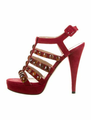 Valentino Suede Crystal Embellishments Sandals Red