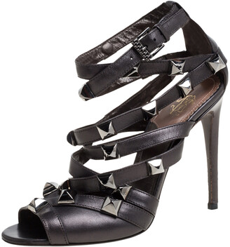 Roberto Cavalli Metallic Brown Leather Studded Strappy Sandals Size 37.5