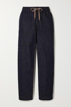 Brunello Cucinelli Bead-embellished Denim Tapered Track Pants - Navy