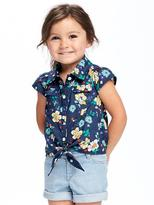 Old Navy Floral Tie-Front Shirt for Toddler Girls