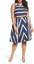 Eliza J Plus Size Women's Stripe Fit & Flare Dress