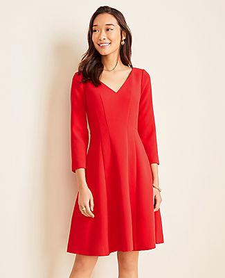 Ann Taylor Petite Doubleweave Seamed Flare Dress
