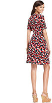 Amy Byer Dress, Elbow-Sleeve Printed Faux-Wrap