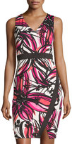 Maggy London Faux-Wrap Sheath Dress, Pink/White