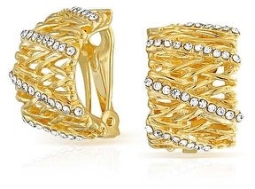 Bling Jewelry Twisted Basket Weave CZ Hoop Clip On Earring Ears Gold Plated
