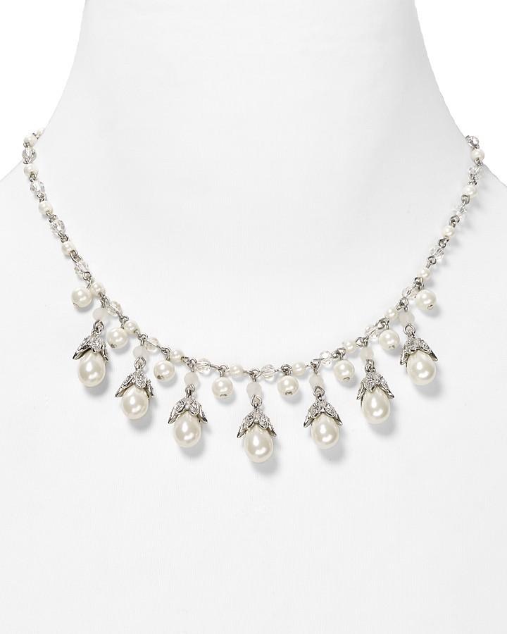 """Lauren Ralph Lauren Pearl with Crystal Front Drop Necklace, 18"""""""