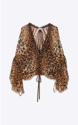 Saint Laurent Loose-Fitting Blouse In Leopard-Print Chiffon