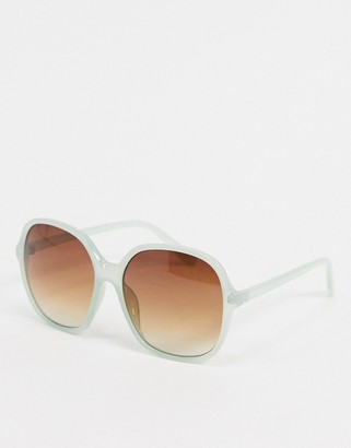 ASOS DESIGN 70s oversized square sunglasses in milky green