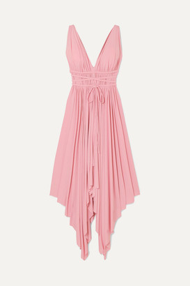 Norma Kamali Goddess Ruched Stretch-jersey Midi Dress - Bubblegum