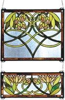 Meyda Lighting Meyda Tiffany 27233 21 Inch W X 26 Inch H Waterlily 2 Piece Window