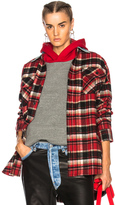 Fear Of God Oversized Flannel Button Down Shirt in Checkered & Plaid,Red.