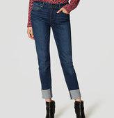 LOFT Modern Frayed Cuff Straight Leg Jeans in Vintage Dark Indigo