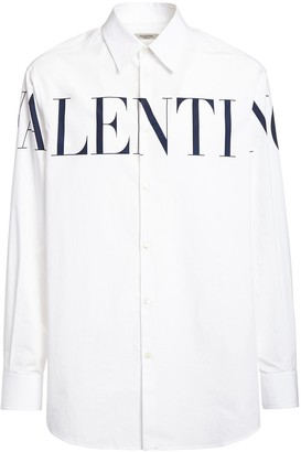 Valentino Logo Print Cotton Poplin Shirt