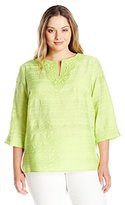 Alfred Dunner Women's Plus Size Solid Tunic Woven Top