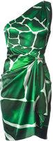 Emerald Green Draped Animal Printed Dress