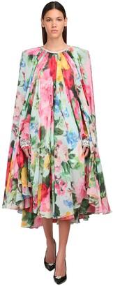 Richard Quinn Printed Georgette Cape Midi Dress