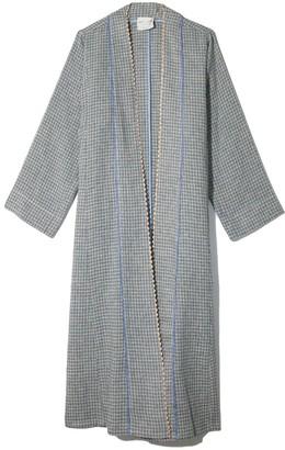 Forte Forte Handcrafted Linen Cotton Vichy Dustcoat in Azzurro