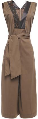 Brunello Cucinelli Bead-embellished Satin-trimmed Cotton-blend Poplin Jumpsuit