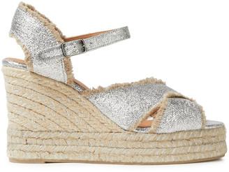 Castaner Metallic Coated Linen-canvas Wedge Espadrille Sandals