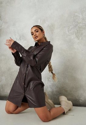 Missguided Petite Brown Faux Leather Shirt Dress